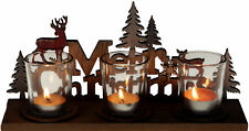 Wooden Shabby Chic Merry Christmas Triple Tea Light Candle Holder