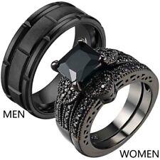 Couple Rings Titanium Steel Mens Wedding Bands Black CZ Womens Wedding Ring Sets
