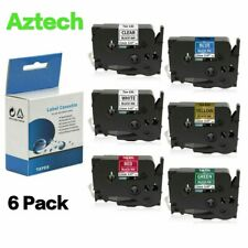6PK Label Tape Compatible for Brother TZe-231 TZ431 TZe631 P-Touch 6 Color 12mm