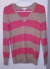 Gap Luxe Angora Tan Hot Pink Striped V-Neck Pullover Sweater Top Euc Sz Xs 0 2