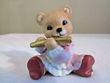 Homco Porcelain Girl Bear Figurine Playing a Flute #1422