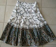 I S Work Skirt  in White Browns Green Multi Size 8
