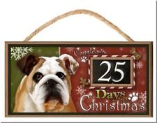 """Bulldog """"Holiday Countdown"""" Dog Sign / Plaque featuring the art of Scott Rogers"""