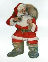 Vintage Christmas Large Santa Claus Wall Hanging Cut Out Paper & Felt Decoration