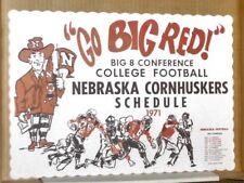 1971 Vintage Nebraska Cornhuskers Huskers Paper Placemat Football Schedule
