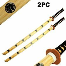 "2pc Set 40"" Samurai Katana Bokken Kendo Wooden Practice Swords for Students"
