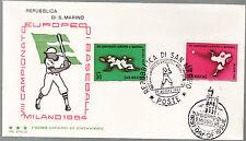 SAN MARINO P.O 1964  BUSTA FDC CAMPIONATO EUROPEO DI BASEBALL MILANO TRE STELLE