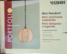 PORTFOLIO Mini Pendant Lamp #0128491 Bronze Finish Burlap Shade NIB