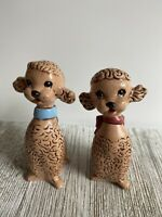 Pair Of Vintage Brown Poodle Figurines