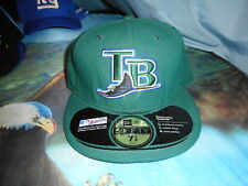 TAMPA BAY RAYS HUNTER GREEN Ball Cap New Era 59 Fifty Fitted  Sz 7 1/8 NWOT