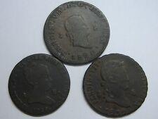 SPAIN 1820 1830 1845 FERDINAND VII 8 MARAVEDI ISABEL II LOT SPANISH COPPER COIN