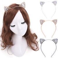 Beauty Girls Metal Rhinestone Cat Ear Headband Hair band Costume Party Cosplay
