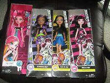 4 Monster High Dolls Draculaura, Clawdeen Wolf, Cler De Nile & Gigi Grant NIB