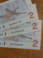 "➡➡ 3 BUY RADARS $2 1986 BC-55b ChUNC Note Bank of Canada SAME ""BUY"" PLATE- MINT"