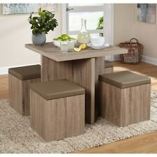 Kitchen Dining Set Breakfast Nook Table Storage Ottoman Chairs Rustic Small 5 PC