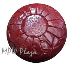 MPW Plaza Pouf, Garnet Red, Moroccan Leather Ottoman (Stuffed)