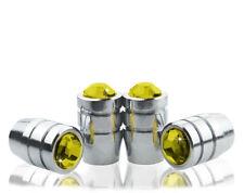 Premium Yellow Crystal Chrome Tire Air Valve Stem Cap-A