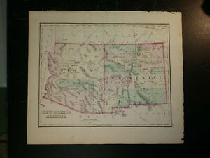 1876 Grays map of Arizona & New Mexico - Mexico on reverse. 15x17
