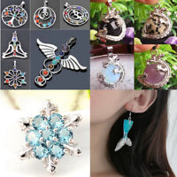 Mixed 16 Styles Metal Words Resin Mermaid Charm Pendant DIY for Jewelry Making