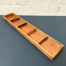 Vintage Style Rectangle Wooden Large Fruit Snack Display 5 Section Storage Tray