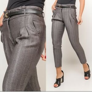 Women's Tapered Office Work Trousers Business Trousers stripped Grey UK 8-14