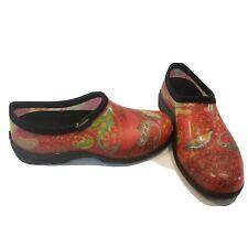 Sloggers Shoes Rain Garden Rubber Purple Pansy Multi-Color Womens Size 8