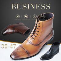 Fashion Men's Leather Boots Smart Formal Brogue Combat Lace Ankle Boots Shoes