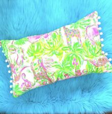 New throw pillow made with LILLY PULITZER Pink On Parade fabric WHITE Poms