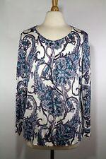 Talbots 2X Petite Paisley Cardigan Sweater Silk Cotton Blue Purple Long Sleeve