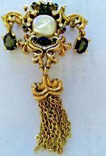 ST, JOHN Gold Filled Brooch Pin w/ Tassel Smokey Topaz &  Baroque Pearl