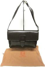 LOEWE LONDON AMAZING BROWN SHOULDER BAG WITH BUCKLE STRAP & GOLD TONE HARDWARE