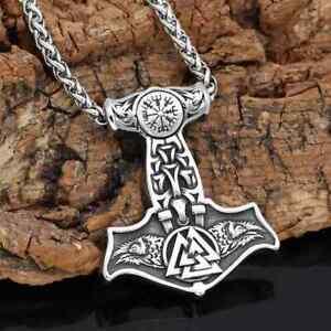 Anhänger Thors Hammer Edelstahl Raben mit Kette Wikinger Halskette Vikings