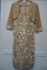 BESPOKE DESIGNER MOTHER BRIDE,OCCASION,RACES,DRESS & BOLERO JACKET,10,BEIGE,$350