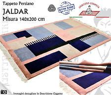Tappeto Moderno JALDAR Misura 140x200cm Vello Lana Nero Blu Rosa Design