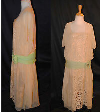 ANTIQUE DRESS FLAPPER 1925 FINE CHIFFON HAND EMBROIDERY WITH TAPE LACE