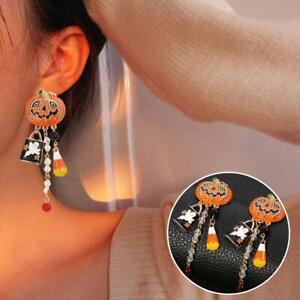 Women Rhinestone Earrings Halloween Pumpkin Enameled Drop Dangle Tassel Stone.