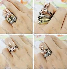 3 ANIMAL RINGS vintage brass RABBIT/FOX/OWL antique copper KITSCH RING silver ox