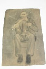 "Antique 1800s Sketched Pencil Charcoal Picture Man Playing Violin 12"" x 17.5"""