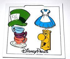 Disney 4 Pin Set✿Alice in Wonderland Icon Mad Hatter Hat Tea Cups Doorknob Dress