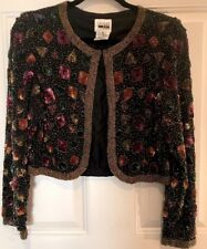 LESLIE FAY EVENINGS Multicolor Silk Beaded Sequin Jacket  Size S Chest 40
