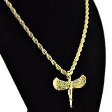 "Egyptian Goddess Isis 24"" Chain Gold Tone Iced-Out Winged Pendant Rope Necklace"