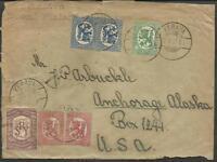 FINLAND TO USA COVER 1921 KERAVA CANCEL W/Cinderella