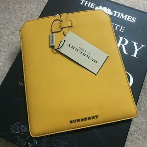 NEW Burberry iPad Leather Case Tourmaline Yellow Tablets & eReader BNWT Express