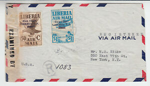 Liberia # C35-36 WWII CENSOR Cover to NY 1942 Surcharge Airplane Fauna Bird