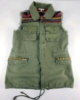 GB Green Studded Fringe Vest Women Size M Medium