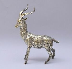 BEAUTIFUL SILVER PLATE GOAT FIGURE