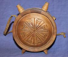 Vintage folk carved wood wine brandy keg