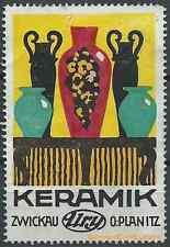 Reklamemarke ZWICKAU, Ury - O. Planitz, Keramik (#25673)