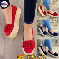 Women's Ankle Slip On Flatform Wedges Shoes Espadrilles Summer Platform Sandals