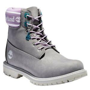 Women's Timberland Premium 6IN Waterproof Boots Grey Purple A41D6 Size 11
